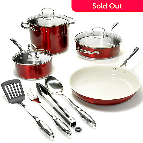 438-418 - Kevin Dundon Signature Collection 11-Piece Colored Stainless Steel Nonstick Ceramic Cookware Set