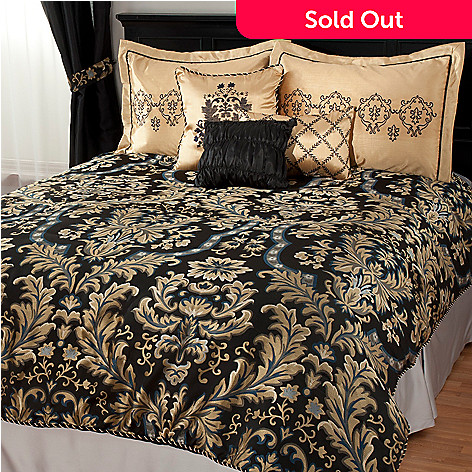438-478 - North Shore Living™ Damask Satin & Jacquard Six-Piece Bedding Ensemble