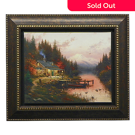438-617 - Thomas Kinkade ''End of a Perfect Day'' Floating Framed Textured Print