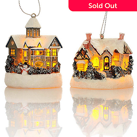 438-632 - Thomas Kinkade Holiday Cottages Set of Two 2.5'' 3D Light-up Ornaments