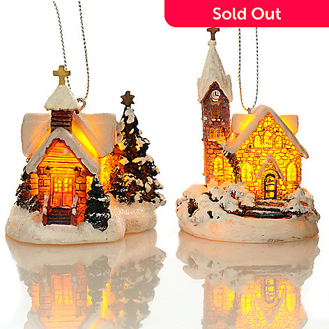 438-633 - Thomas Kinkade Holiday Chapels 2.75'' Set of Two 3D Light-up Ornaments