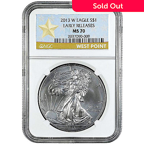 438-835 - 2013 Silver Eagle Burnished MS70 Early Release NGC (W) Star Label Coin w/ Slab
