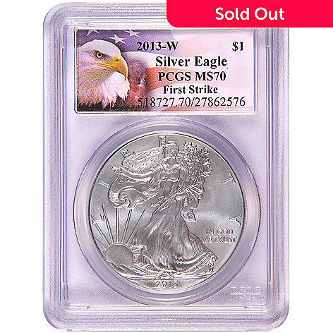 438-836 - 2013 Silver Eagle Burnished MS70 First Strike PCGS (W) Eagle Label Coin w/ Slab
