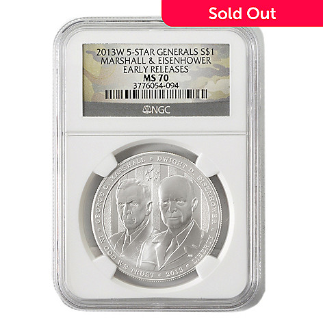 438-971 - 2013 Silver Dollar Five-Star General Commemorative MS70 Early Release NGC (W) Coin