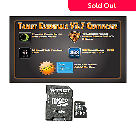 439-032 - Tablet Essentials V3.7 Software & Patriot 32GB Micro SD Memory Card w/ Adapter