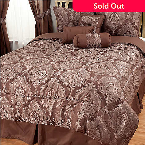 439-168 - North Shore Linens™ Damask Medallion Jacquard Seven-Piece Bedding Ensemble
