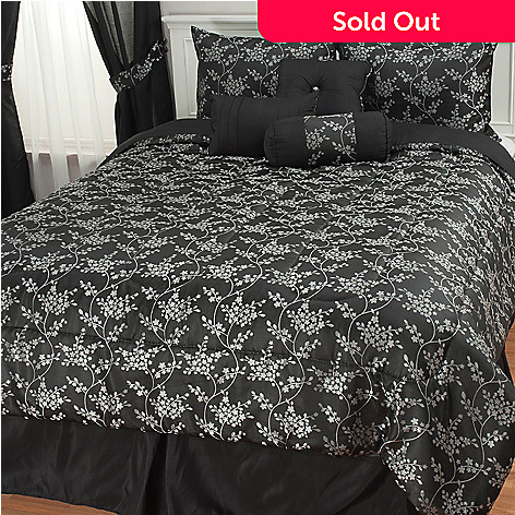 439-170 - North Shore Living™ Dainty Floral Jacquard Seven-Piece Bedding Ensemble