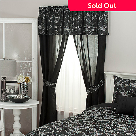 439-171 - North Shore Living™ Dainty Floral Jacquard Five-Piece Window Set