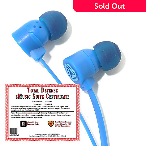 439-231 - Coloud POP In-Ear Headphones & Total Defense eMusic Suite Certificate