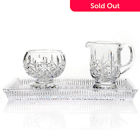 439-390 - Waterford Crystal Lismore 11'' Tray w/ Sugar & Creamer Set