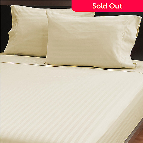 439-430 - North Shore Living™ Four-Piece 500TC Cotton Damask Stripe Sheet Set