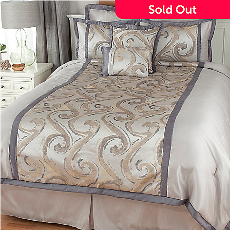 439-442 - North Shore Linens™ Swirl Jacquard Eight-Piece Bedding Ensemble