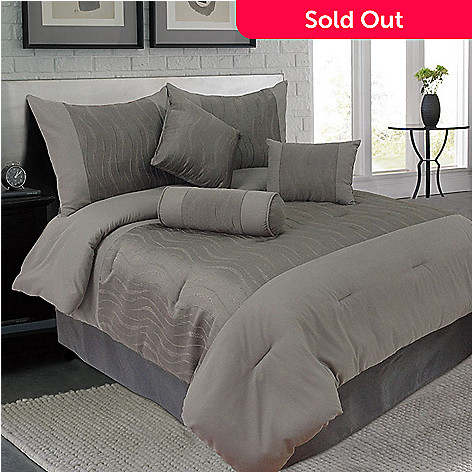 439-541 - Lavish Home Seven-Piece Grey Comforter Set