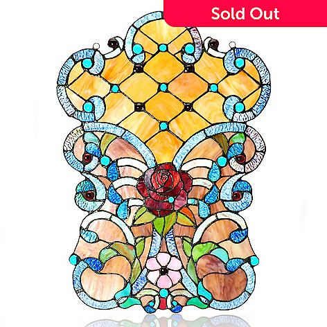 439-554 - Tiffany-Style 23'' Queen's Garden Stained Glass Window Panel