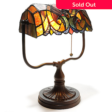 439-556 - Tiffany-Style 13.5'' Halston Stained Glass Banker's Desk Lamp