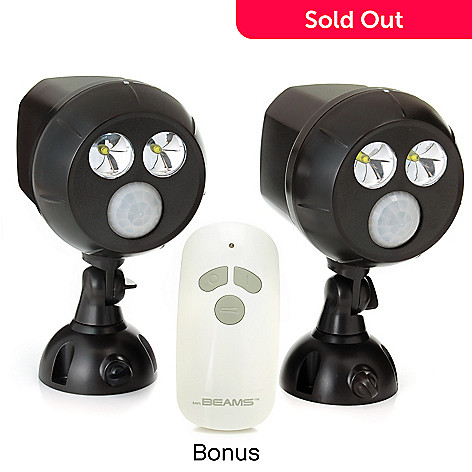 439-614 - Mr. Beams™ Set of Two Wireless Motion Sensor UltraBright LED Spotlights w/ Flashlight