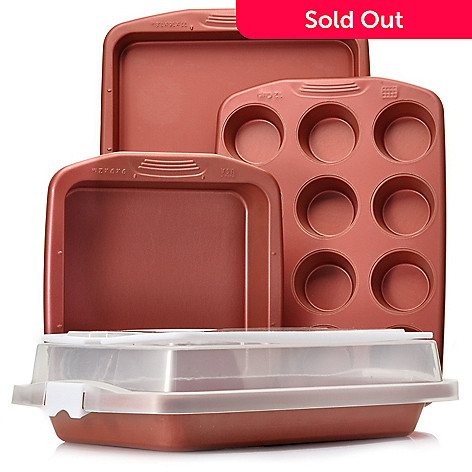 439-616 - Cook's Companion® Five-Piece Color Nonstick Bakeware & Carrying Cover Set