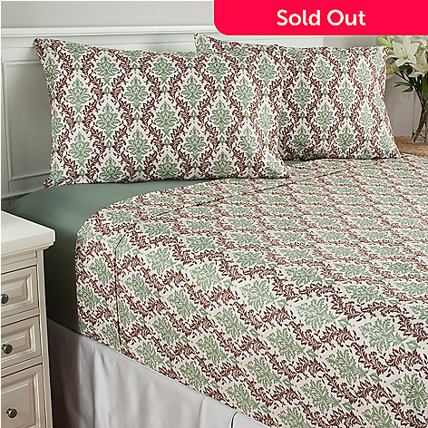 439-629 - Cozelle® Set of Two Microfiber Printed & Solid Four-Piece Sheet Sets