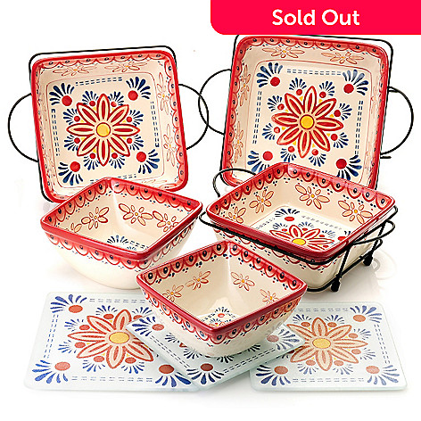 439-712 - Cook's Tradition™ 11-Piece Solid or Hand-Painted Floral Stoneware Oven-to-Table Set