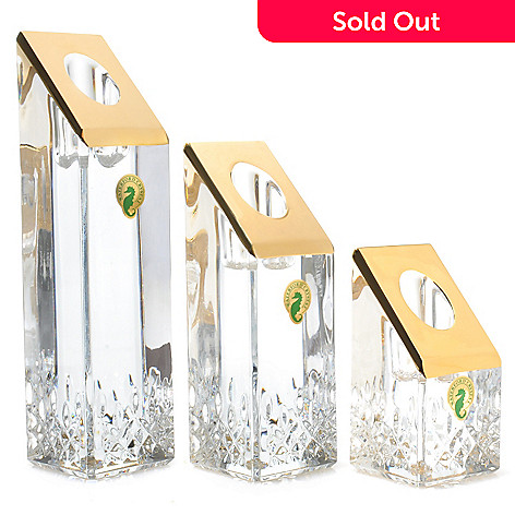 439-746 - Waterford Crystal Lismore Essence Gold Set of Three Candlesticks
