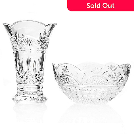 439-880 - Waterford Crystal Jim O'Leary Lismore Two-Piece Bowl & Vase Set