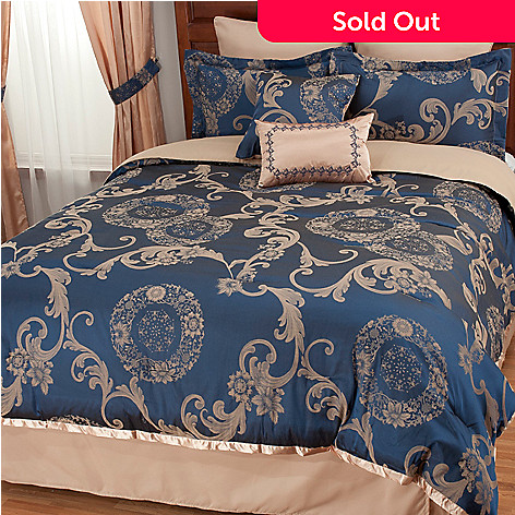 439-913 - North Shore Linens™ Scrollwork Jacquard Eight-Piece Bedding Ensemble