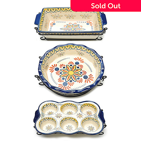 440-184 - Cook's Tradition™ Hand-Painted Ceramic Stoneware Six-Piece Specialty Bake & Serve Set