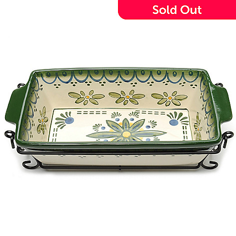 440-187 - Cook's Tradition™ Hand-Painted Ceramic Stoneware Two-Piece Loaf Pan & Carrier Set
