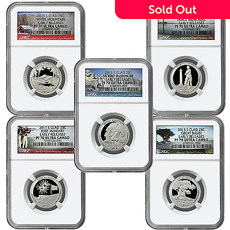 440-308 - 2013 Silver America's National Treasures PF70 NGC Five-Piece Quarter Set