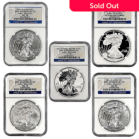 440-329 - 2011 Silver 25th Anniversary American Eagle ER NGC Five-Piece Coin Set