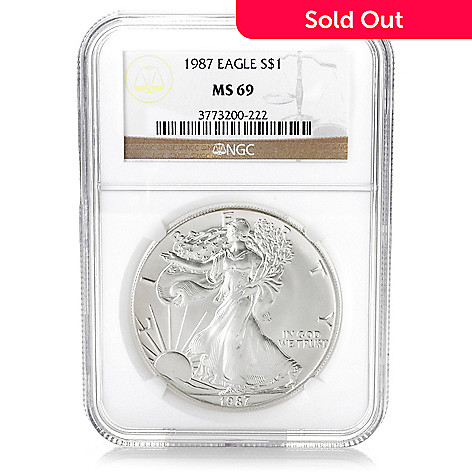 440-357 - 1987 Silver American Eagle MS69 NGC Coin
