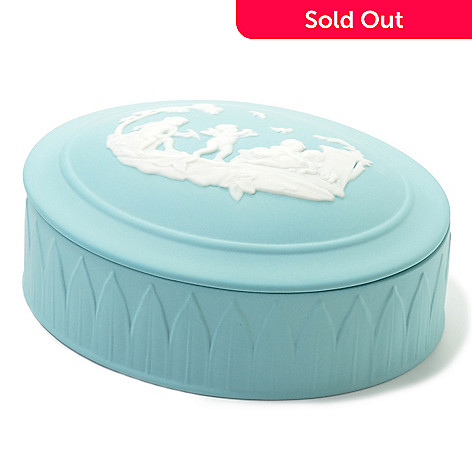 440-398 - Wedgwood® 5'' Jasperware Angels Classic Oval Box w/ Cover