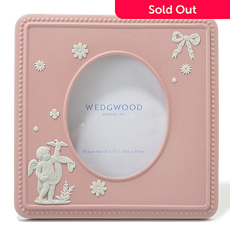 440-403 - Wedgwood Pink Cupid 4'' Jasperware Square Frame - Signed by Lord Wedgwood