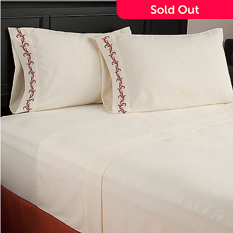 440-429 - North Shore Living™ Microfiber Scrollwork Embroidered Four-Piece Sheet Set