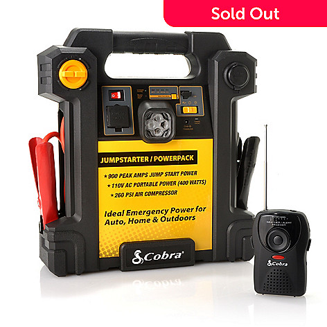 440-439 - Cobra® 900 Amp Jump Starter/PowerPack w/ Air Compressor & NOAA Weather Radio