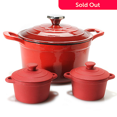 440-465 - Cook's Tradition™ Enameled Cast Iron Dutch Oven w/ Lid & Set of Two Cocottes w/ Lids