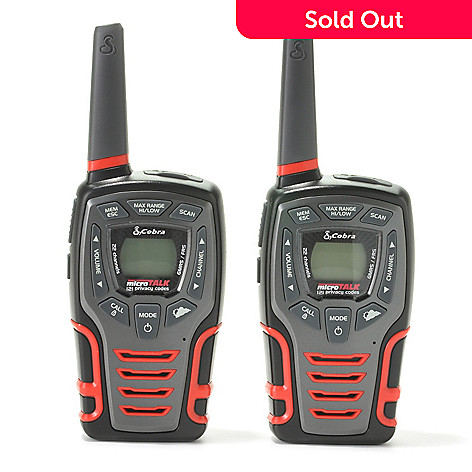 440-665 - Cobra Set of Two 28-Mile 22-Channel Walkie Talkies w/ Built-in LED Light