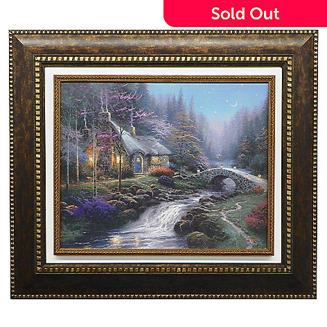 440-720 - Thomas Kinkade ''Twilight Cottage'' Framed Textured Print