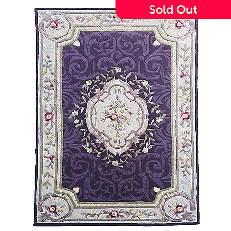 441-035 - Global Rug Gallery™ Aubusson-Style Floral Scrollwork Hand-Tufted Wool & Artisan Silk Rug