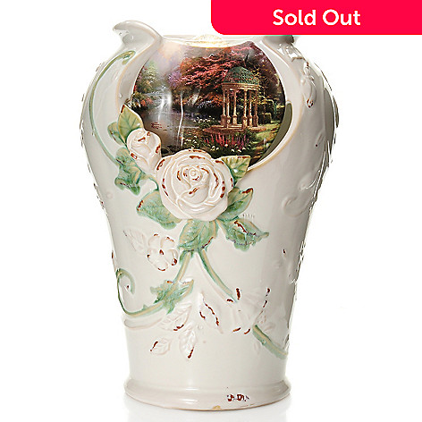 441-241 - Thomas Kinkade 14'' ''A Garden of Prayer'' Porcelain Tabletop Fountain