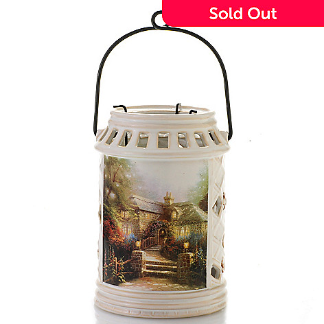 441-246 - Thomas Kinkade 6.75'' Porcelain Lantern w/ Three-Arm Candle Holder