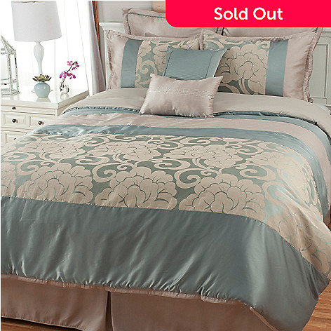 441-449 - North Shore Living™ Floral Scrollwork Jacquard Eight-Piece Bedding Ensemble