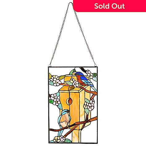 441-932 - Tiffany-Style 19'' Blue Birds Haven Stained Glass Window Panel