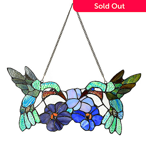 441-938 - Tiffany-Style 17'' Hummingbirds Duet Stained Glass Window Panel