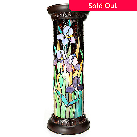 441-939 - Tiffany-Style 26.25'' Wild Orchid Stained Glass Round Pedestal Lamp
