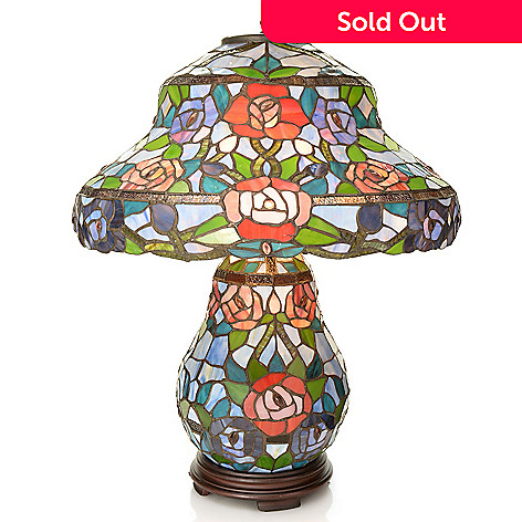 442-021 - Tiffany-Style 26'' Rose Double Lit Stained Glass Table Lamp
