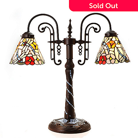 442-022 - Tiffany-Style 22'' Mosaic Dragonfly Gooseneck Stained Glass Table lamp