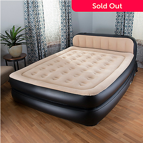 insta bed raised 18 air mattress headboard w built in neverflat pump