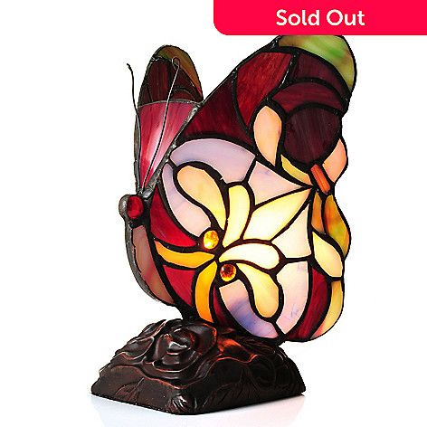 442-737 - Tiffany-Style 8.25'' Brianne Butterfly Stained Glass Accent Lamp