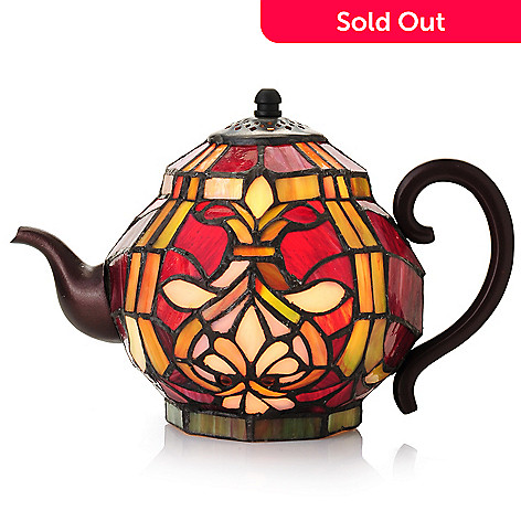 442-738 - Tiffany-Style 6.25'' Brianne Teapot Stained Glass Accent Lamp